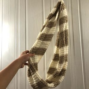 White and Light Brown Scarf